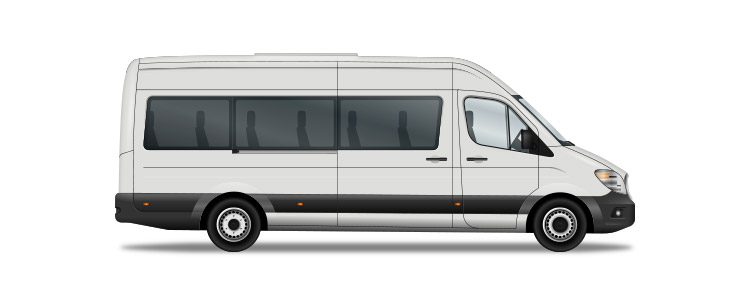 Icon of a white private minibus
