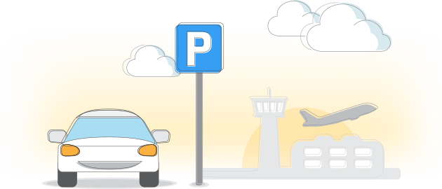 Icon of a car parking in an airport with a plane taking off in the background