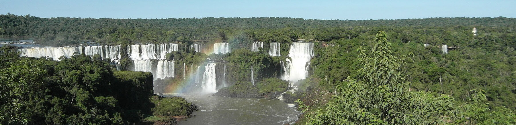Aerial view of Iguazu Falls on the border of Argentina and Brazil