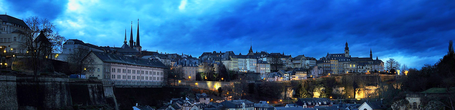 Panoramic view of the city of Luxembourg after sunset