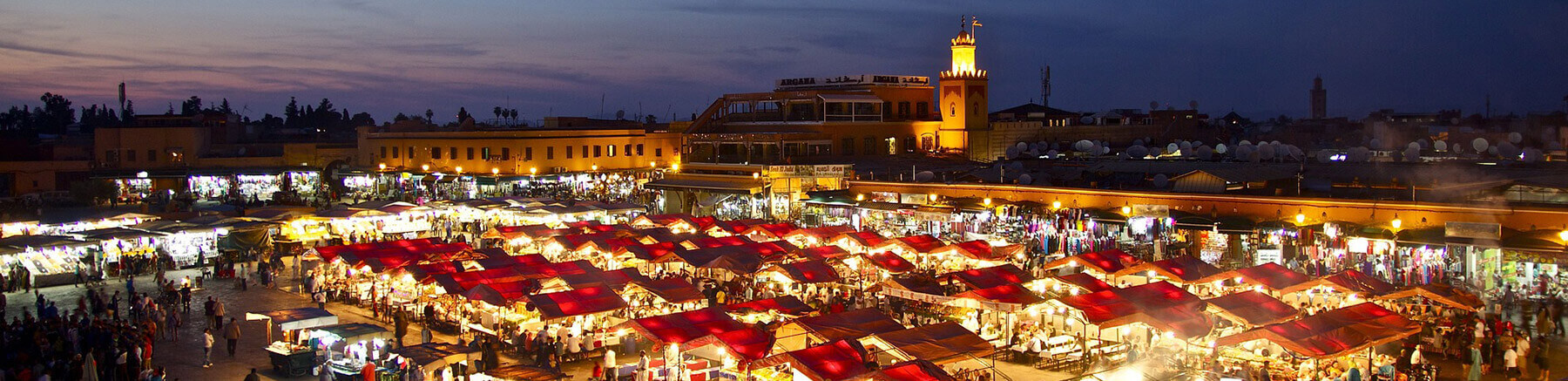 Moroccan souks by night in Marrakech city, Morroco