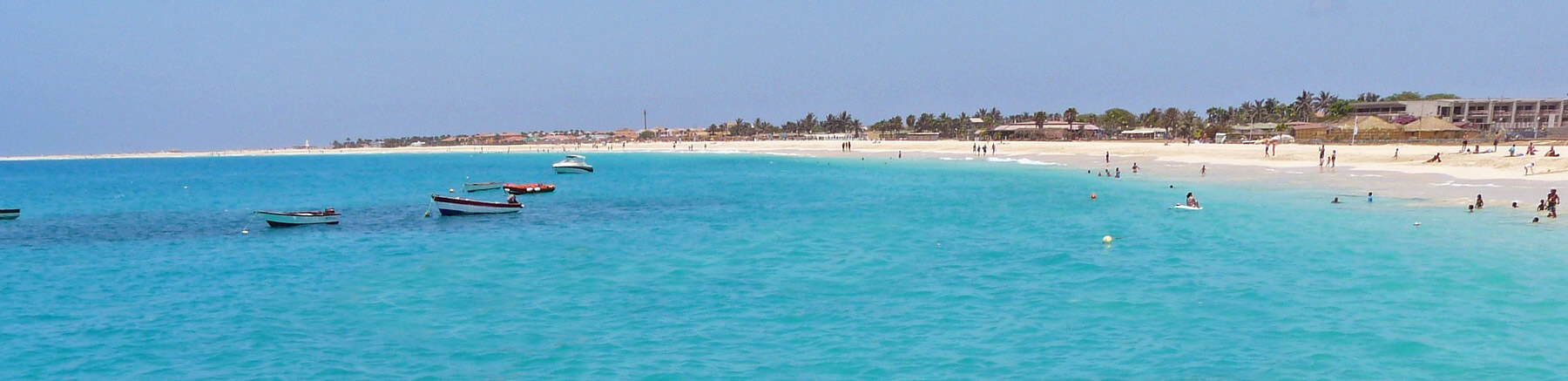 Beautiful beach with turquoise water and white sand in Cape Verde
