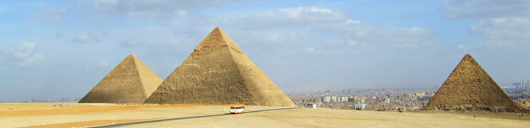Giza pyramid complex with the 3 pyramids near the city of Cairo in Egypt