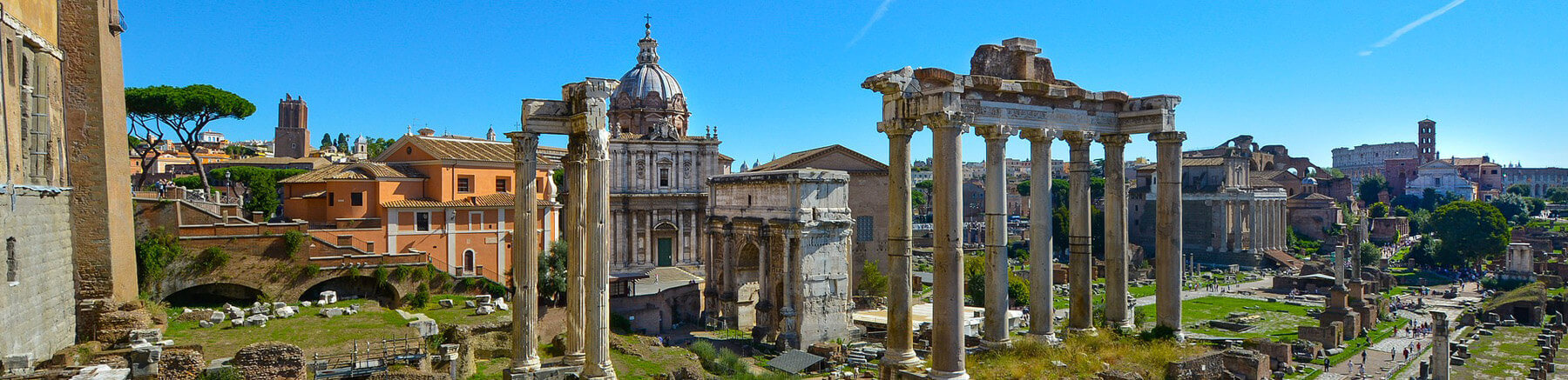 The Roman Forum in Rome featuring the ruins of several important ancient government buildings