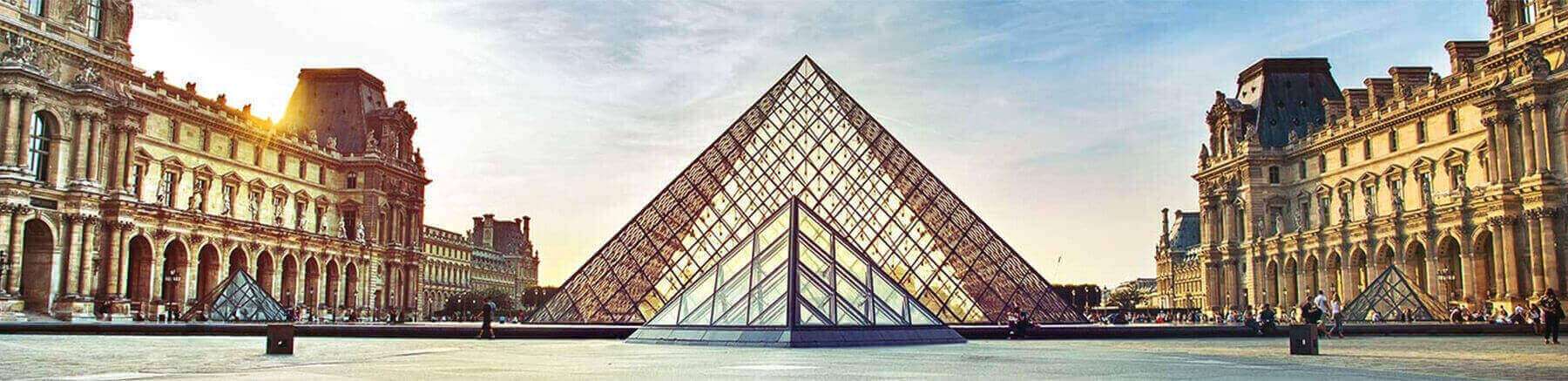 The pyramid of the Louvre museum in Paris, France