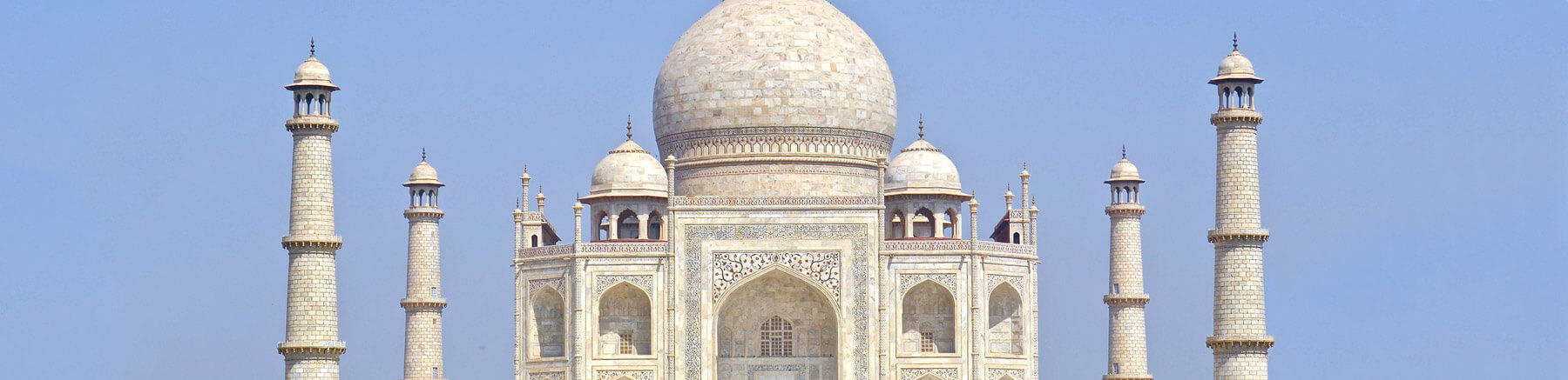 Close up view of the Taj Mahal in Agra, India