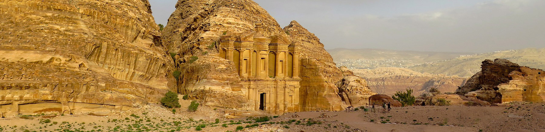 View of the archaeological site of Petra in Jordan's desert