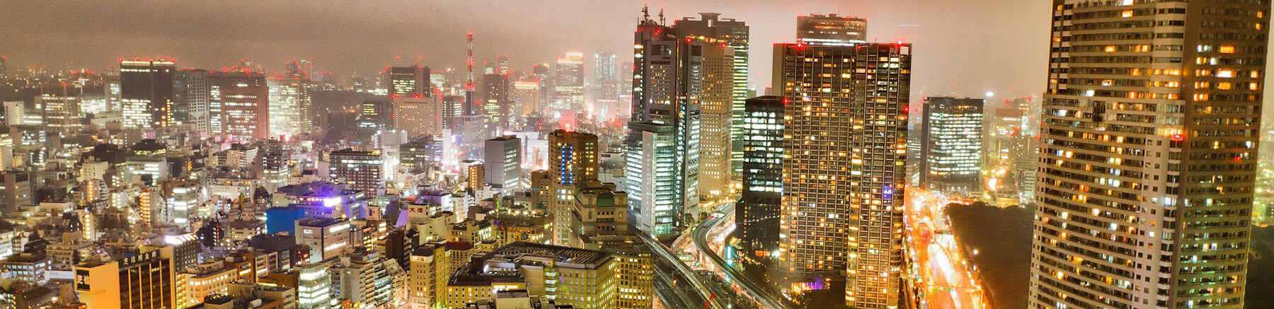 Living neighbourhood of Shiodome in Tokyo, Japan by night