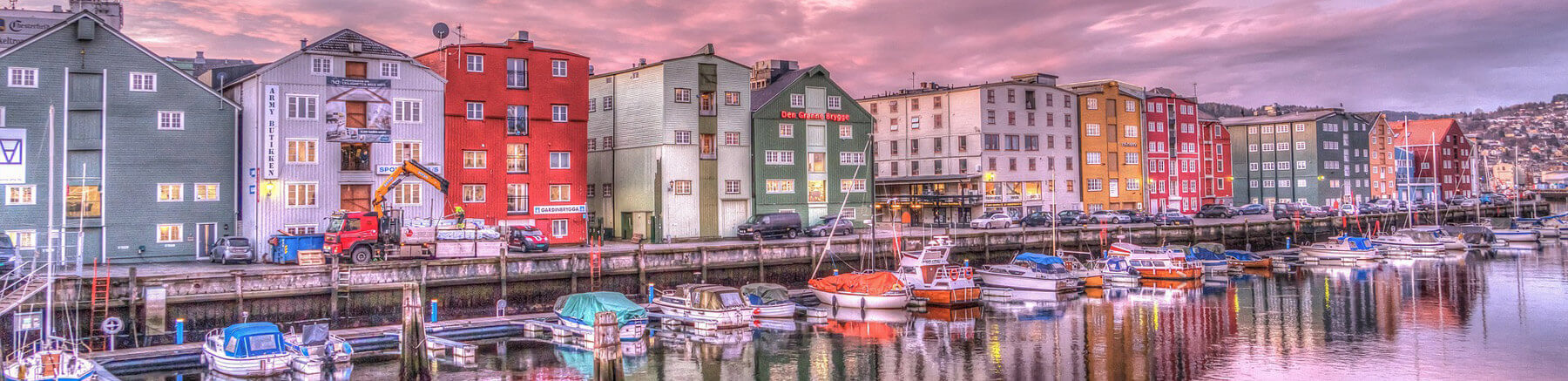 Colourful houses at the harbour in Trondheim, Norway