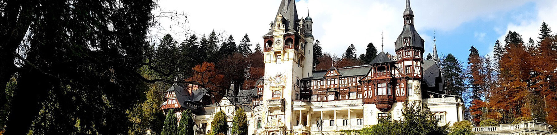 Close view of Peleș Castle in Romania in autumn